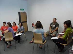 Group activity in meridian massage workshop
